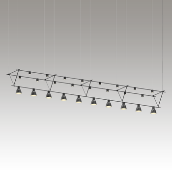 SLS1144 Suspenders 14' Triangle Truss w/ Power Precise Direct Mnt Cyls w/Bell Reflectors + Power Precise Direct Mnt Cyl Satin Black