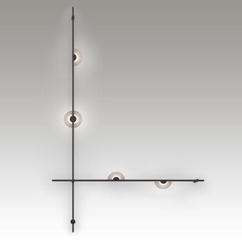 SLS1153 Suspenders 2-Bar Wall-Mounted with Mezzaluna Luminaires Satin Black