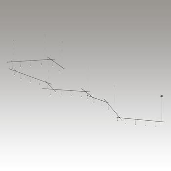 "SLS1150 Suspenders 10-Bar Freeform Zig Zag with 9"" Monoline Crystal Cylinder Luminaires Satin Black"