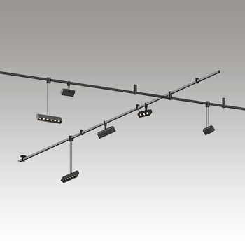 SLS1152 Suspenders 2-Bar Freeform Surface Mount with 3-Cell Luminaires + 6-Cell Luminaires Satin Black