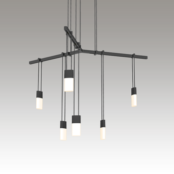 """S1C24K-JR18XX28-RP02 Suspenders 24"""" 1-Tier Tri-Bar with Etched Chiclet Luminaires Satin Black"""