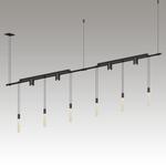 "SLS0164 Suspenders 36"" 2-Bar In-Line Linear w/ Crystal Rods & 24"" Light Bars & Bar-Mounted Single Cyls w/Flood Lenses Satin Black"