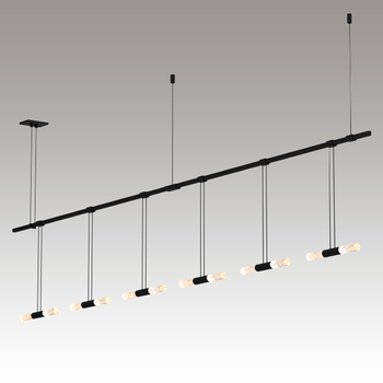 "S1U36K-MC06XXA2-RP13 Suspenders 36"" 2-Bar In-Line Linear with Crystal Double Glass Rod Luminaires Satin Black"