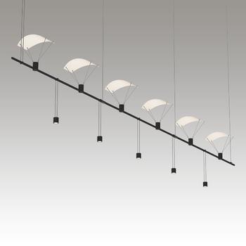 "SLS0161 Suspenders 36"" 3-Bar In-Line Linear w/ Suspended/Bar-Mounted Single Cyls w/Flood Lenses & Parachute Reflectors Satin Black"