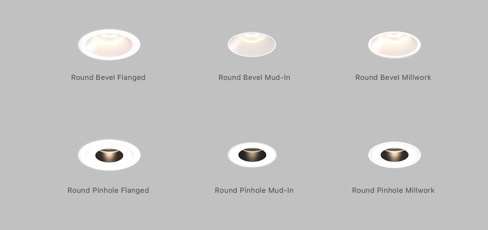 """Sonneman Intervals 2"""" Fixed Round Trim options and ceiling applications"""