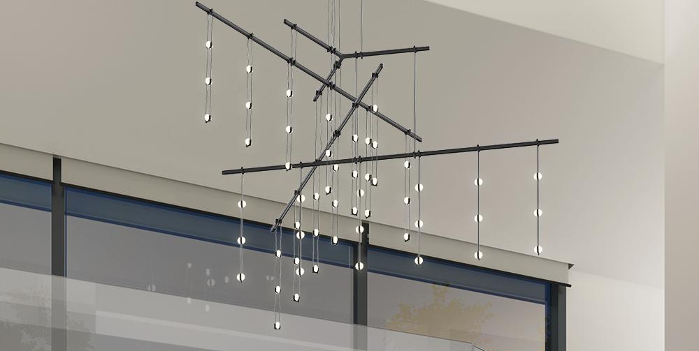 Sonneman Suspenders Tri-Bar Living Room